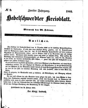 Habelschwerdter Kreisblatt vom 28.02.1844
