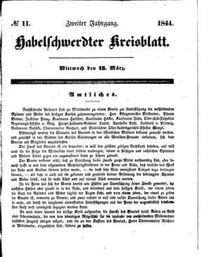 Habelschwerdter Kreisblatt vom 13.03.1844