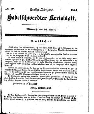 Habelschwerdter Kreisblatt vom 20.03.1844