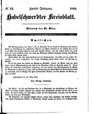 Habelschwerdter Kreisblatt vom 27.03.1844