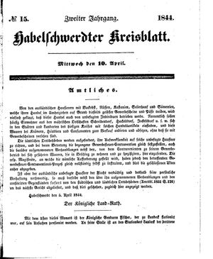 Habelschwerdter Kreisblatt vom 10.04.1844