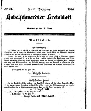 Habelschwerdter Kreisblatt vom 03.07.1844