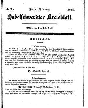 Habelschwerdter Kreisblatt vom 10.07.1844