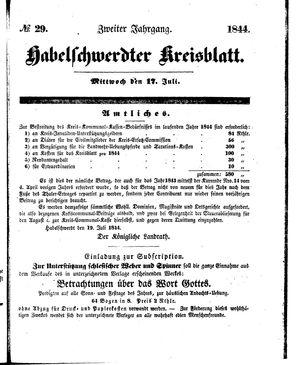 Habelschwerdter Kreisblatt vom 17.07.1844