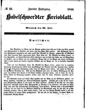 Habelschwerdter Kreisblatt vom 31.07.1844