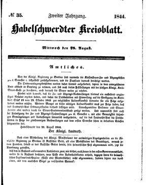 Habelschwerdter Kreisblatt vom 28.08.1844