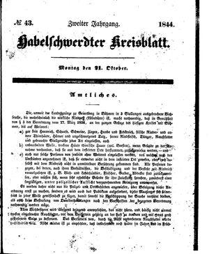 Habelschwerdter Kreisblatt vom 21.10.1844