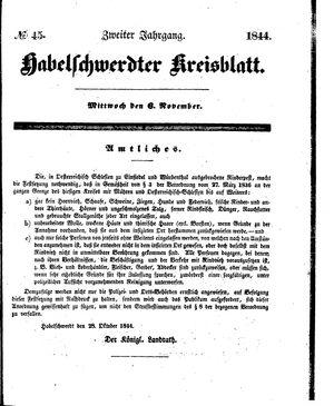 Habelschwerdter Kreisblatt vom 06.11.1844