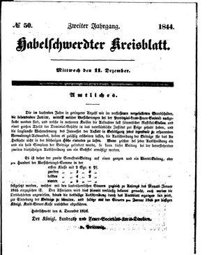 Habelschwerdter Kreisblatt vom 11.12.1844