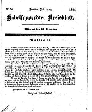 Habelschwerdter Kreisblatt on Dec 25, 1844