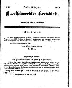 Habelschwerdter Kreisblatt vom 05.02.1845