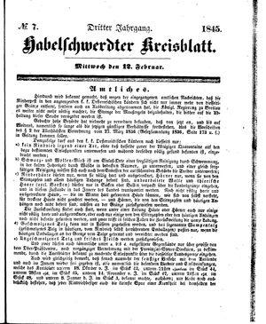 Habelschwerdter Kreisblatt vom 12.02.1845