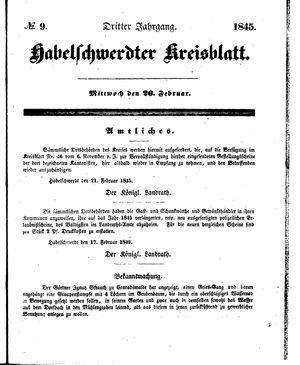 Habelschwerdter Kreisblatt vom 26.02.1845