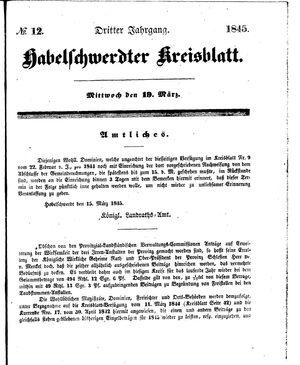 Habelschwerdter Kreisblatt vom 19.03.1845