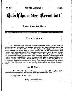Habelschwerdter Kreisblatt vom 26.03.1845