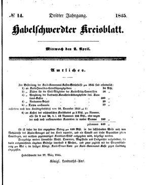 Habelschwerdter Kreisblatt vom 02.04.1845