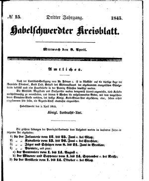 Habelschwerdter Kreisblatt vom 09.04.1845