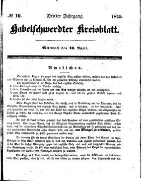 Habelschwerdter Kreisblatt vom 16.04.1845