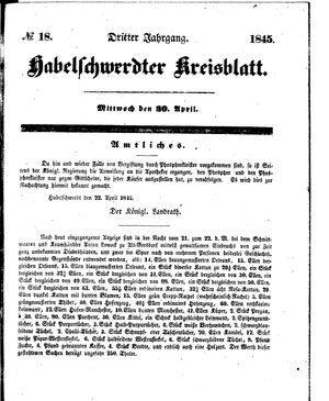 Habelschwerdter Kreisblatt vom 30.04.1845