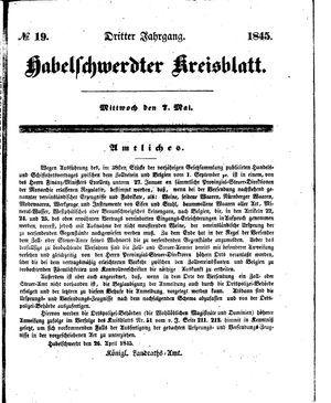 Habelschwerdter Kreisblatt vom 07.05.1845
