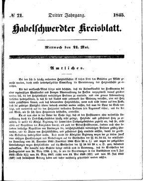 Habelschwerdter Kreisblatt on May 21, 1845