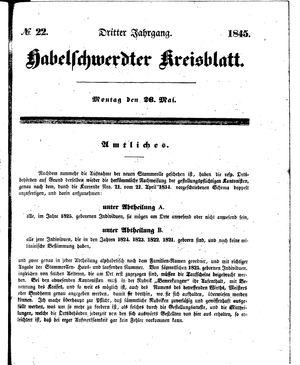 Habelschwerdter Kreisblatt vom 26.05.1845