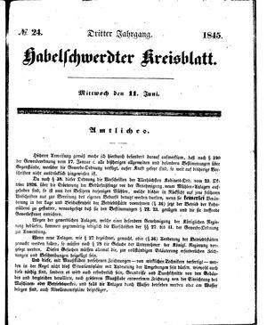 Habelschwerdter Kreisblatt vom 11.06.1845