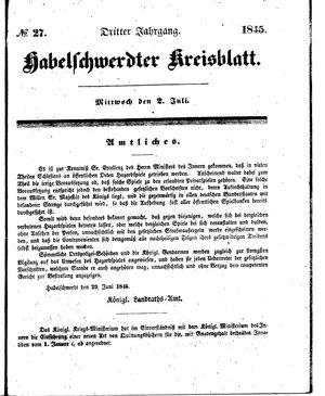 Habelschwerdter Kreisblatt vom 02.07.1845