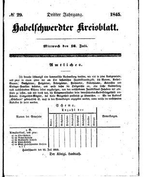 Habelschwerdter Kreisblatt vom 16.07.1845