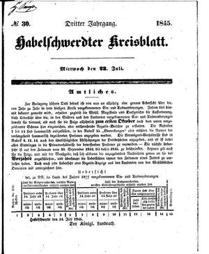 Habelschwerdter Kreisblatt vom 23.07.1845
