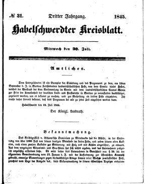 Habelschwerdter Kreisblatt vom 30.07.1845