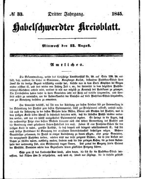 Habelschwerdter Kreisblatt vom 13.08.1845