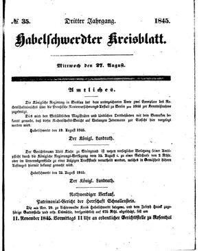 Habelschwerdter Kreisblatt vom 27.08.1845