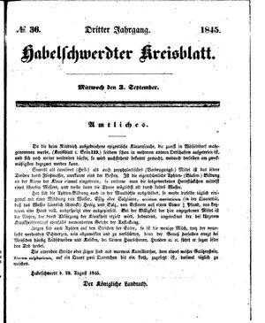 Habelschwerdter Kreisblatt vom 03.09.1845