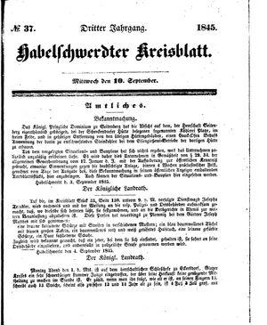 Habelschwerdter Kreisblatt vom 10.09.1845