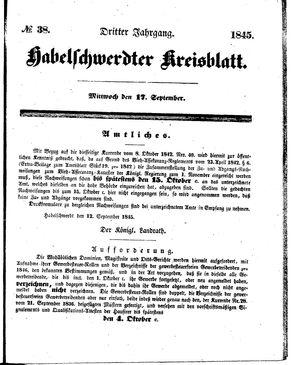 Habelschwerdter Kreisblatt vom 17.09.1845