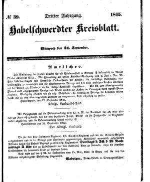 Habelschwerdter Kreisblatt vom 24.09.1845