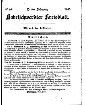 Habelschwerdter Kreisblatt on Oct 1, 1845