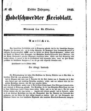 Habelschwerdter Kreisblatt vom 15.10.1845