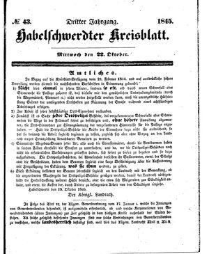 Habelschwerdter Kreisblatt vom 22.10.1845