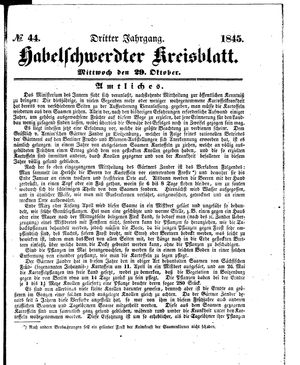 Habelschwerdter Kreisblatt on Oct 29, 1845