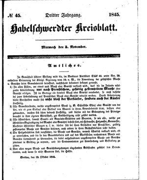 Habelschwerdter Kreisblatt vom 05.11.1845