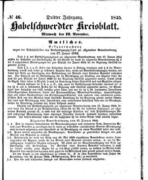 Habelschwerdter Kreisblatt on Nov 12, 1845