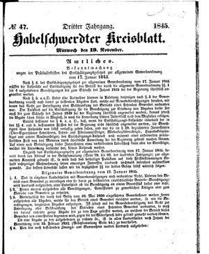 Habelschwerdter Kreisblatt on Nov 19, 1845