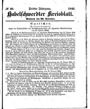 Habelschwerdter Kreisblatt vom 26.11.1845