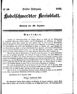 Habelschwerdter Kreisblatt vom 10.12.1845