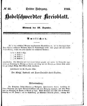 Habelschwerdter Kreisblatt vom 17.12.1845