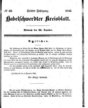 Habelschwerdter Kreisblatt vom 24.12.1845