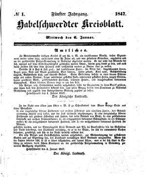 Habelschwerdter Kreisblatt vom 06.01.1847