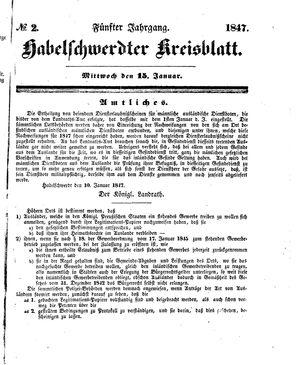 Habelschwerdter Kreisblatt vom 15.01.1847